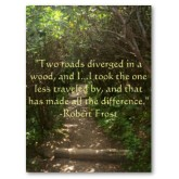 Two roads diverged in a wood, and I, I took the one less traveled by, And that has made all the difference - Robert Frost