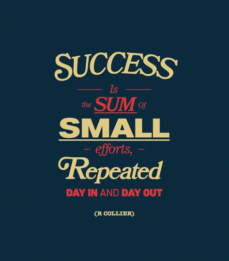Success is the sum of small efforts, repeated day in and out.